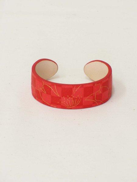 画像1: 革バングル 手纏「tamaki」line 桜 red (1)