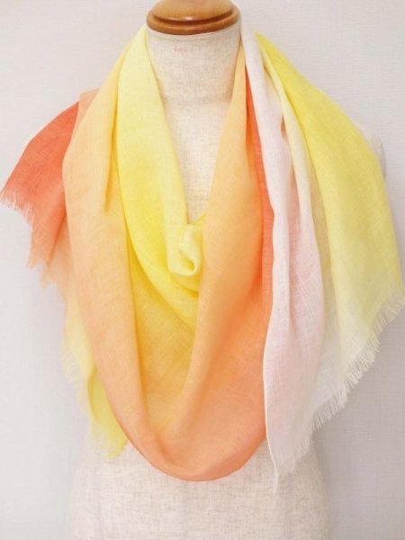 画像1: 刷毛染めストール 空模様オレンジ (1)