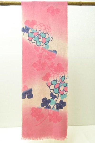 画像1: 手描友禅 カシミヤストール こもれび 菊 ピンク 藍 (1)