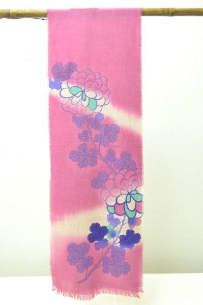 画像1: 手描友禅 カシミヤストール こもれび 菊 赤紫 (1)